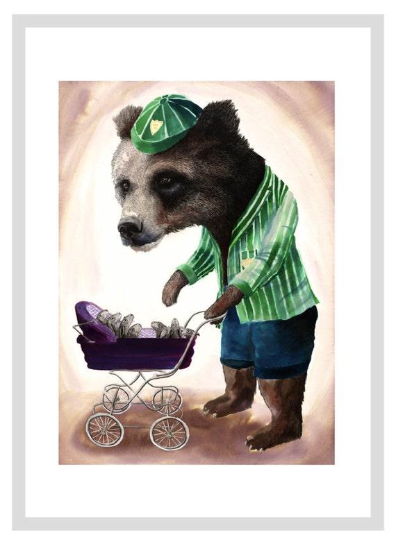 Baby sitting Bear - A3 print