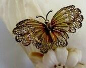 Art Nouveau Hand Wrought 800 Silver Vermeil Butterfly pin