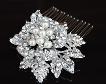 Wedding Hair comb, Flower pearl Comb,Bridal Hair Comb, Wedding Hair Accessories, Crystal comb, rhinestone comb, Bridal Crystal hair comb,