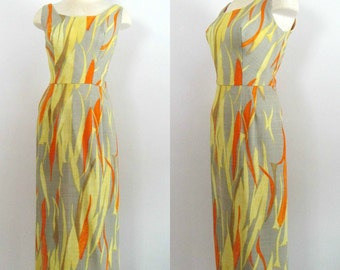 1960s Sleeveless Maxi Dress / Mod Summer Gown / Mid Century Neusteters Couture
