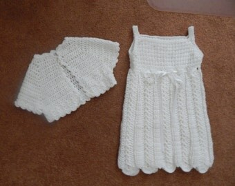 Hand Crocheted Girl's Dress and Jacket