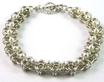 Celtic Visions Swarovski Pearl Sterling Silver Bracelet