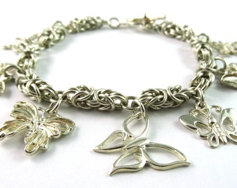 One of a Kind Butterfly Charm Byzantine Chainmaille Sterling Silver Bracelet