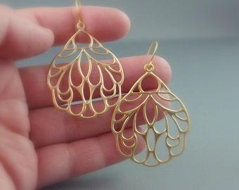 Sweep me Away. Gold Wing Earrings. modern earrings. whimsical earrings. angel wing earrings. insect wing earrings. chandelier earrings.