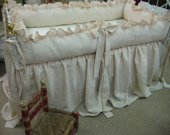 Heirloom Blush Pink Crib Bedding-Ruffled Bumpers with Sash Ties-Custom Pillow Style Extra Full Wrapped Bumper Inserts---Storybook Crib Skirt