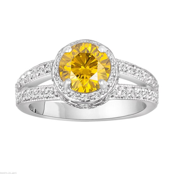 Canary Yellow & White Diamond Engagement Ring by JewelryByGaro