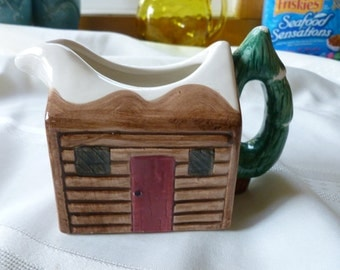 Vintage Log Cabin Maple Syrup Pitcher or Gravy Boat