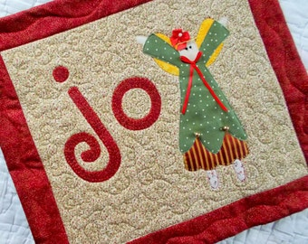 Joy To the World Angel Quilted Wall Hanging