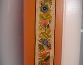 1977 Handmade Crewel Worked Bell Pull Wall Hanging.