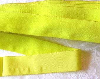 Vintage French Velvet  Ribbon, Lemon Yellow, 1950's Velvet Trim Ribbon, 1 1/4 inch wide,  2 YARDS, Upholstry,  Made in France