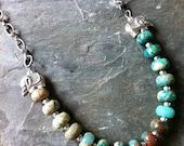 SALE 40% off - Beaded Green Jasper Necklace with Elephant Talismans, Tribal Jasper Necklace, Boho Necklace, Green Jasper Beads Necklace