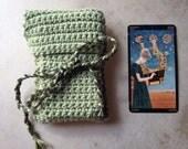 CUSTOM Order/ Reserved for Kellie - sage green crochet tarot deck case