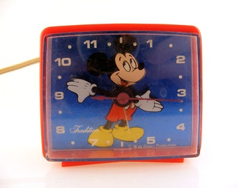 Mickey Mouse Alarm Clock Walt Disney Productions Tradition Red
