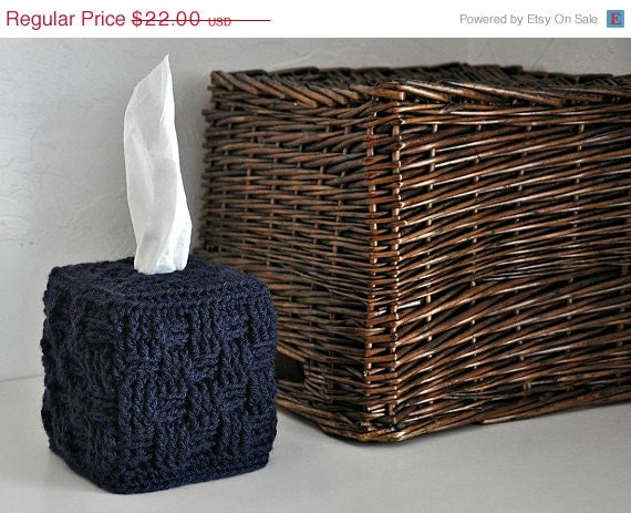 Tissue Box Cover Modern Home Decor Navy Blue By