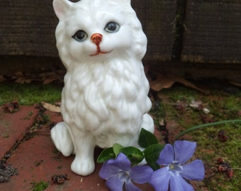 vintage white porcelain cat