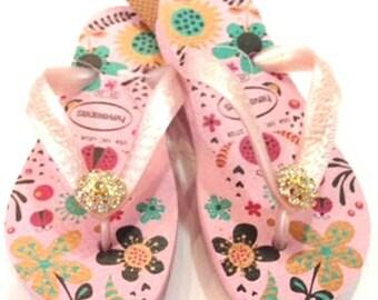 Children's Havaiana Swarovski Crystal flower pink  flip flop sandal girls sizes 10, 11, 12, 13