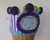 30th Birthday  Crown  Hat  Adult or Child- customize with any number or banner purple and turquoise