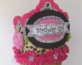Birthday hat - BIRTHDAY GIRL or anything you want - cheetah- adult or child