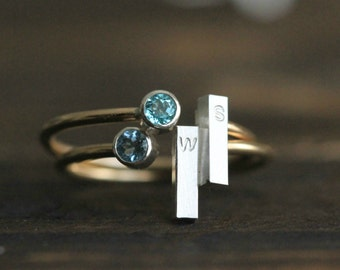 Genuine Birthstone Custom Initial Ring- Silver &14K GF Adjustable Stacking SINGLE Ring w Birthstone and Silver bar By Pale Fish R002