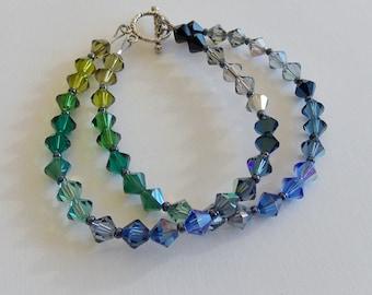 "Color Block Swarovski Crystal 2-Strand Bracelet, 7"" bracelet, blue green bracelet, multi color, shiny, elegant, feminine, gift for her"