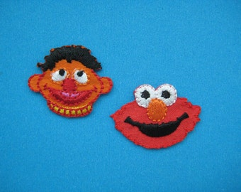 2 pcs Iron-on Embroidered Applique Elmo and Ernie ~1 inch