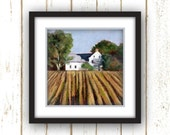 Wall Art Decor - Country - Wall Art - Reproduction from Original Oil Painting - Nurko's Farm - Linen Textured Paper Print