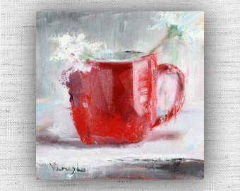 Red Cup - Art Print of Painting - Large Wall Art Print on Wood Block