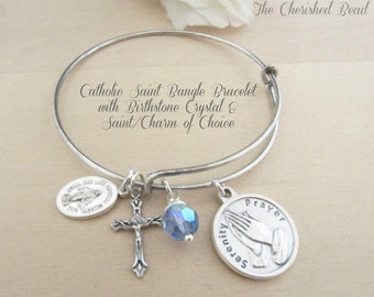 Catholic Stainless Steel Saint Bangle with Birthstone Crystal - Custom Saint of Choice - Swarovski Birthstone Crystal of Choice - Stackable
