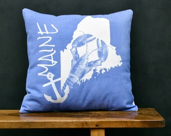 Maine Accent Pillow - Decorative Cotton Denim State Pillow - Maine Home Accessory