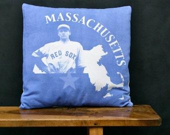 Massachusetts Accent Pillow - Decorative Cotton Denim State Pillow - Massachusetts Home Accessory