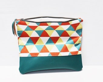 Leather and Cotton Canvas Fold Over Clutch, Foldover Clutch, Green White and Orange Triangle Print, Evening Clutch, Folded Handbag