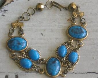 vintage turquoise cabochon gold chains bracelet-boho-junk gypsy jewelry ooak jewelry-southwestern style bracelet
