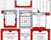 Cowboy Baby Shower Game Package, instant download / purse word scramble bingo wishes baby food my water broke diaper games