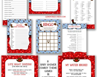 Cowboy Baby Shower Game Package, instant download, printable cowboy baby shower games, digital cowboy shower games