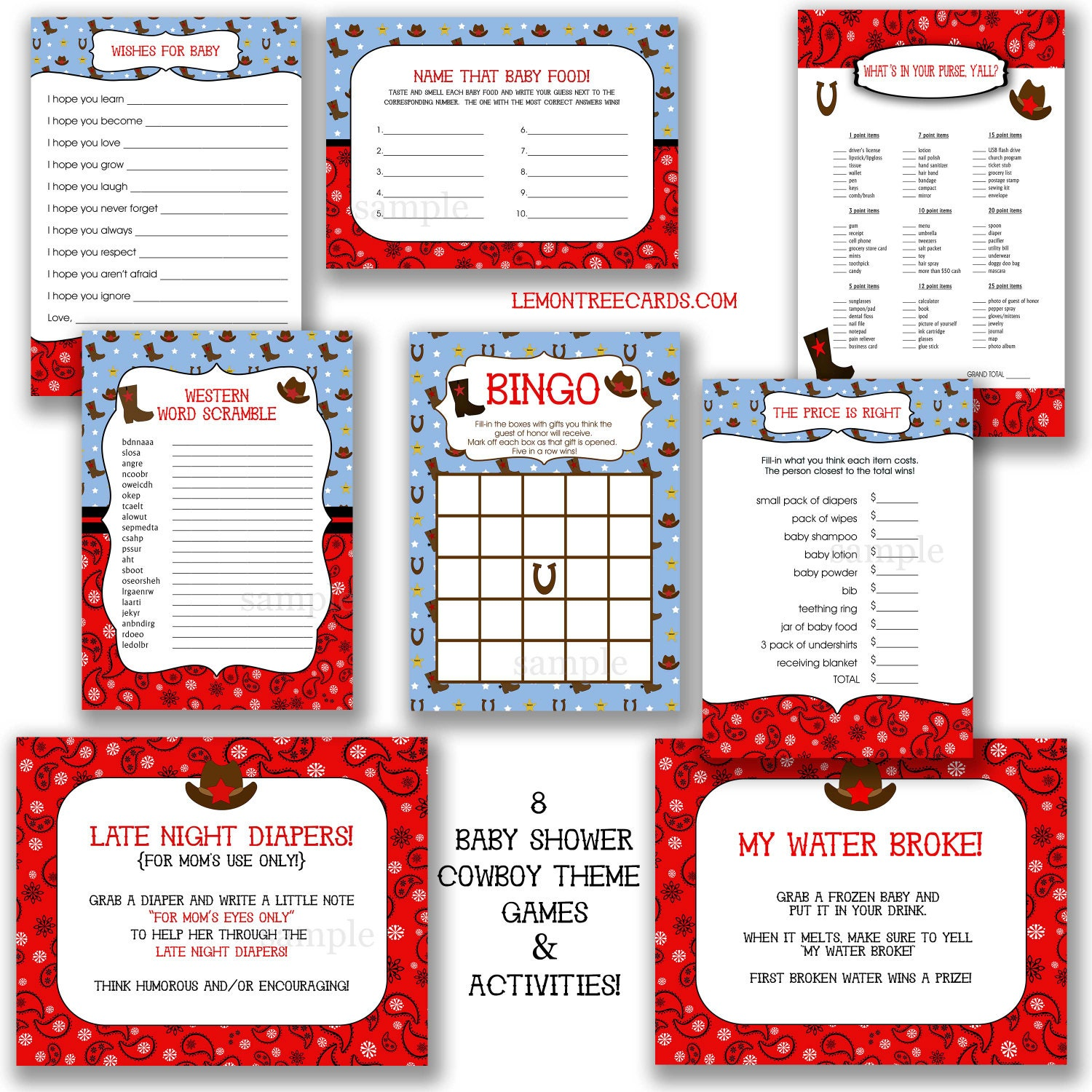 Cowboy Baby Shower Game Package instant printable