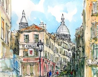PARIS MONTMARTRE art print from an original watercolor