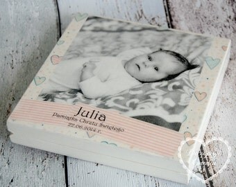 Birthday Christening CD/DVD case, handpainted personalized birthday keepsake box