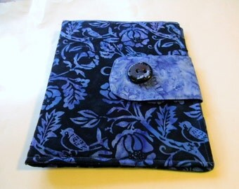 Blue and Black Finches and Flowers Batik iPad Cover