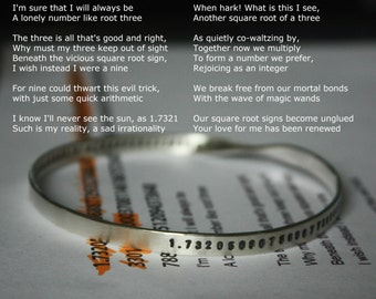 Square Root of 3 = 1.7320...love poem, never ends and never settles. On Mobius bangle. Infinite love. Solid sterling silver. Gift for nerd.
