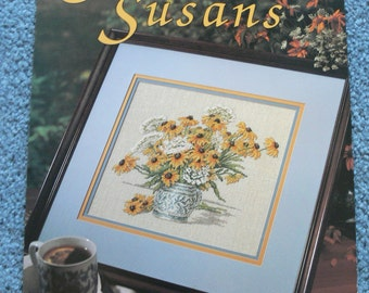 Summer Susans - Counted Cross Stitch Pattern by Leisure Arts - Lazy Susans in Vase