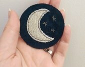 Suede & Leather Appliquéd/Embroidered Crescent Moon and Stars Patch