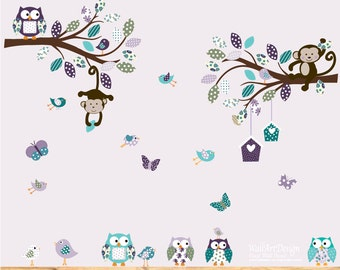 Children's Wall Decal - Baby Wall Decal - Nursery Wall Decal - Girl - Baby - Owl Branch Decal - Kids Wall Decals - Nursery Decals