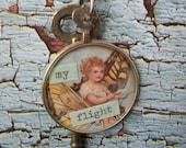 Repurposed  Optometrist Lens Necklace-My Flight