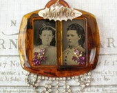 Reserved For Julie-Do Not Purchase -Assemblage Tintype  Necklace-Mother & Daughter
