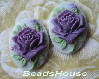 Wholesale 90S-00-CM  12pcs (18 x 25mm) Beautiful Roses Cameo - Amethyst