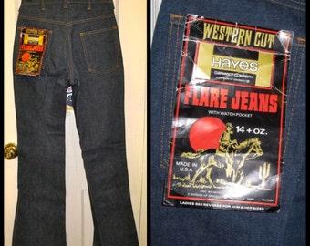 Vintage Deadstock 1970's Hayes Western Bell Bottoms Hard Denim Flare dark Blue Jeans 27X34 27 inch waist NWT skinny Tall