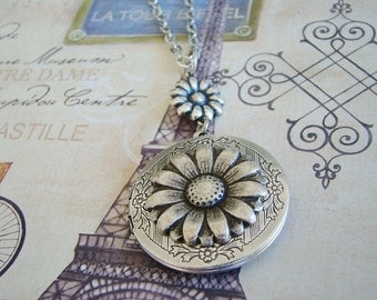 Silver Daisy Locket Wife Sister Bride Bridesmaid Wedding Birthday Mother Daughter Anniversary Graduation Flowers Photo Pictures- Colbie
