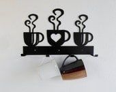 Coffee Cup Rack / Four Cup Holder / Metal Wall Hanging / Kitchen Organizer / Kitchen Decor