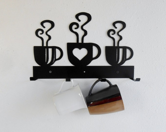 Coffee Cup Mug Rack / Four Cup Holder / Metal Wall Hanging / Kitchen Organizer / Kitchen Decor