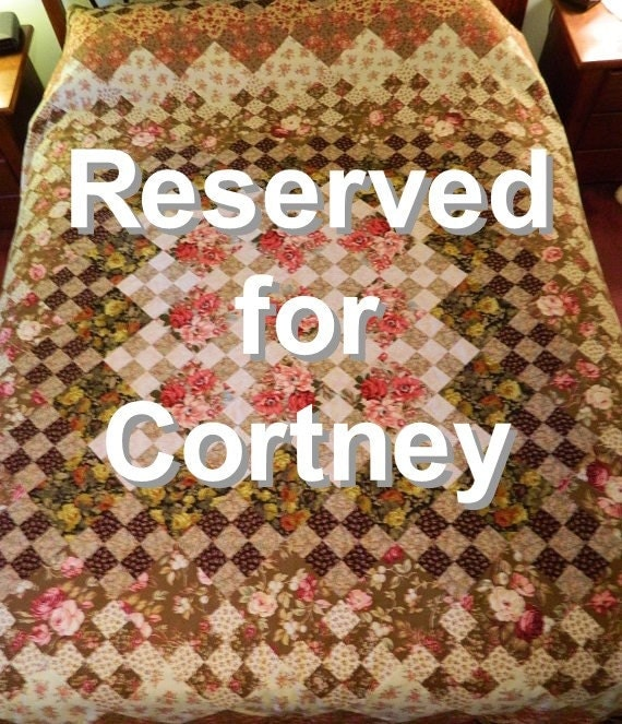 Reserved for Cortney Handcrafted Autumn Rose a Nine Patch King Queen Quilt